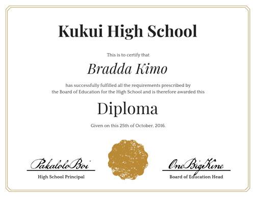 Kukui High School Diploma Certificate